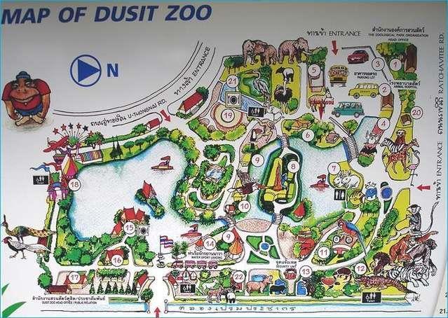 Зоопарк Дусит (Бангкок) карта