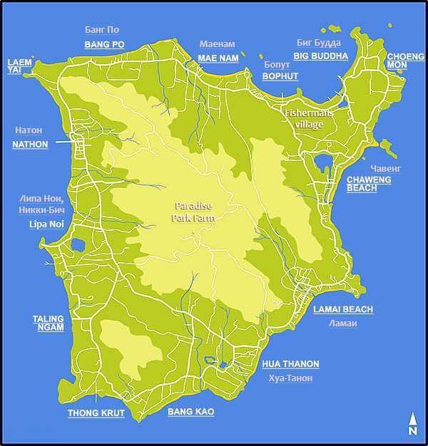 Самуи карта