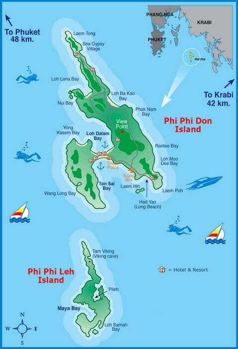 Острова Пхи-Пхи, Таиланд. карта