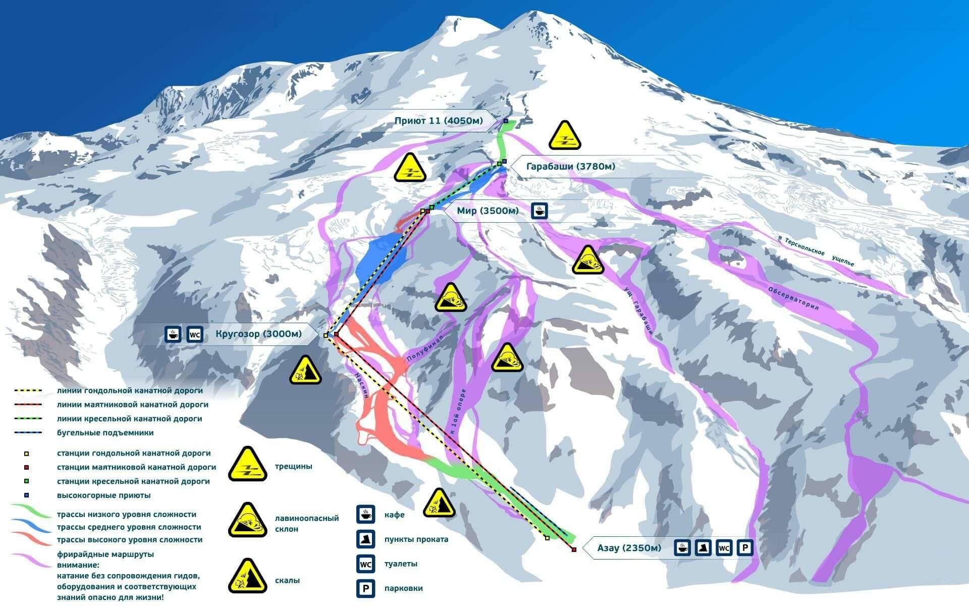 Схема восхождения Эльбрус
