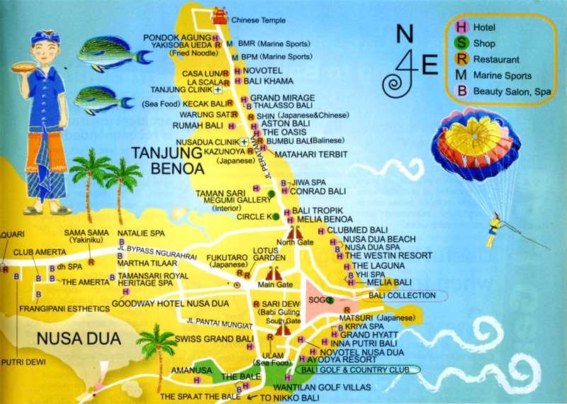 Карта Нуса Дуа и Танжунг Беноа