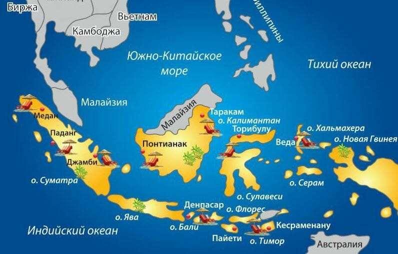 Карта островов Индонезии на русском языке