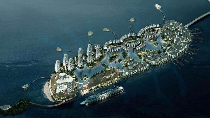 искусственный остров у берегов острова Хайнань (Китай)