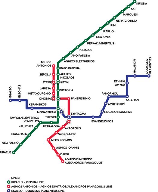 Схема метро Афин предельно проста – все три ветки пересекаются друг с другом в одном или нескольких местах. Единой точки пересечения всех трех направлений нет