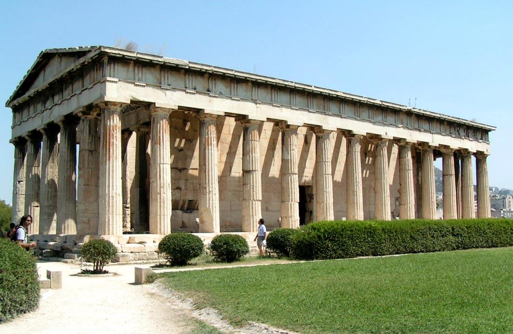 В различных источниках постройка имеет разные названия – Гефестейон и Тесейон, то есть может быть посвящена как Гефесту, так и Тесею