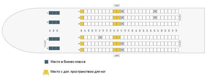 Расположение мест в Boeing 737-800 FlyDubai (Флайдубай)