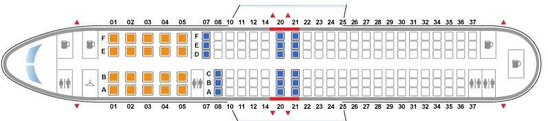 Расположение мест в Boeing 737-800 Nordwind