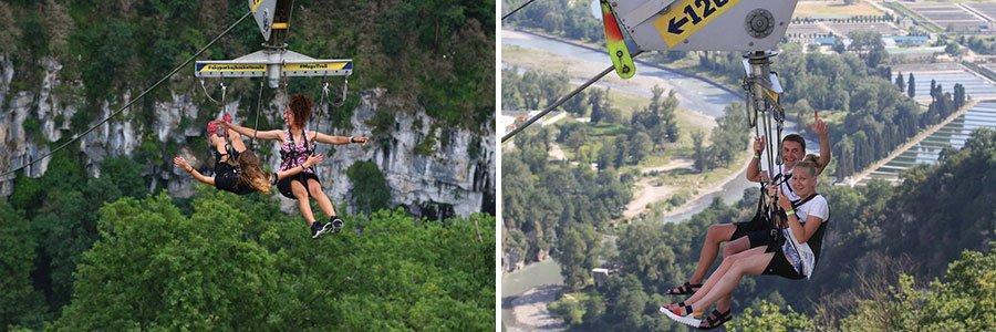 Реактивный полет со скоростью 120 км/ч на подвесной системе через каньон. Стальной трос закреплен на высоте 200 метров над ущельем Ахштыр. Одновременно в троллейном спуске могут участвовать от 1 до 3 человек.